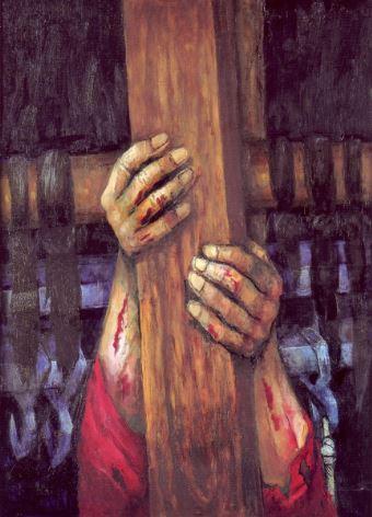 ein Kreuzbalken von Händen gehalten